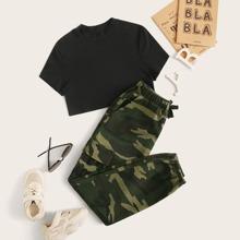 Maedchen Reines Top mit Stehkragen und Hosen Set mit Camo Muster