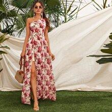 One Shoulder Floral Split Dress
