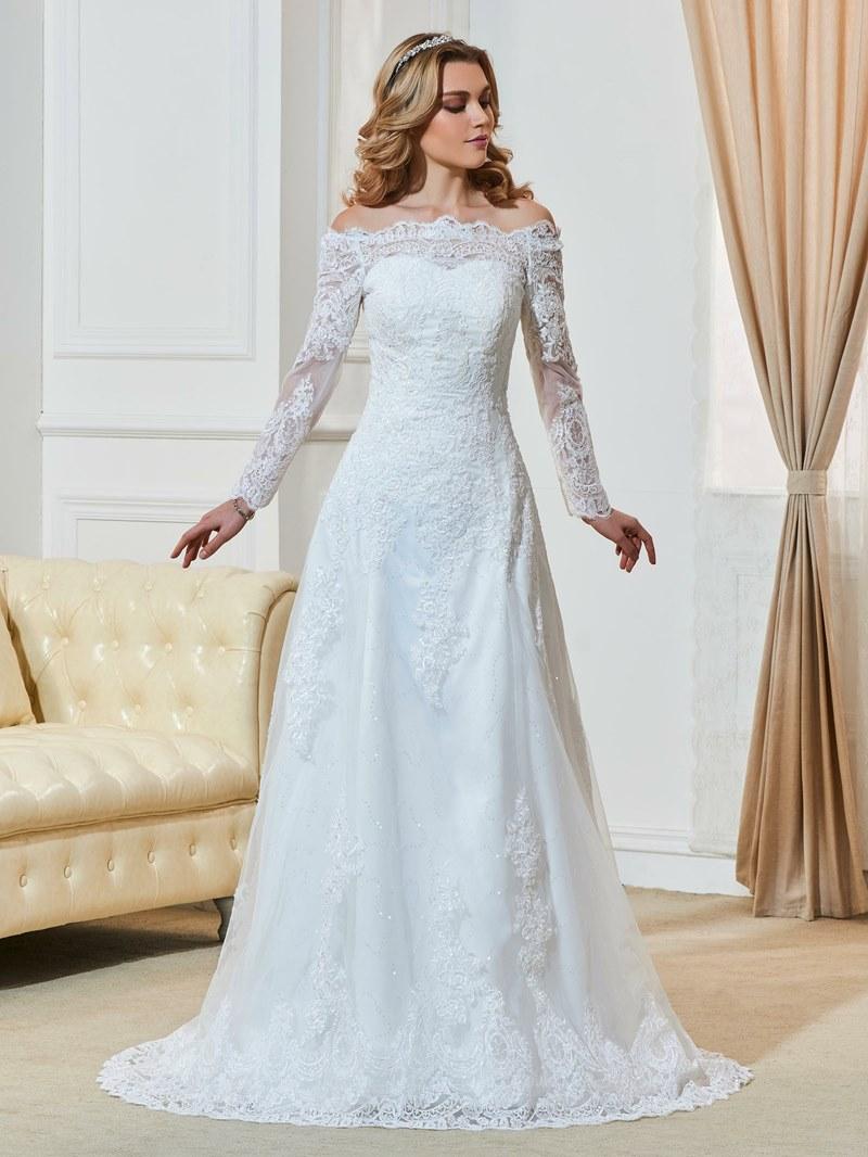 Ericdress Off The Shoulder Appliques Long Sleeves Wedding Dress