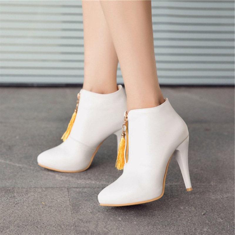Ericdress Fringe Pointed Toe Plain Women's Stiletto Heel Boots