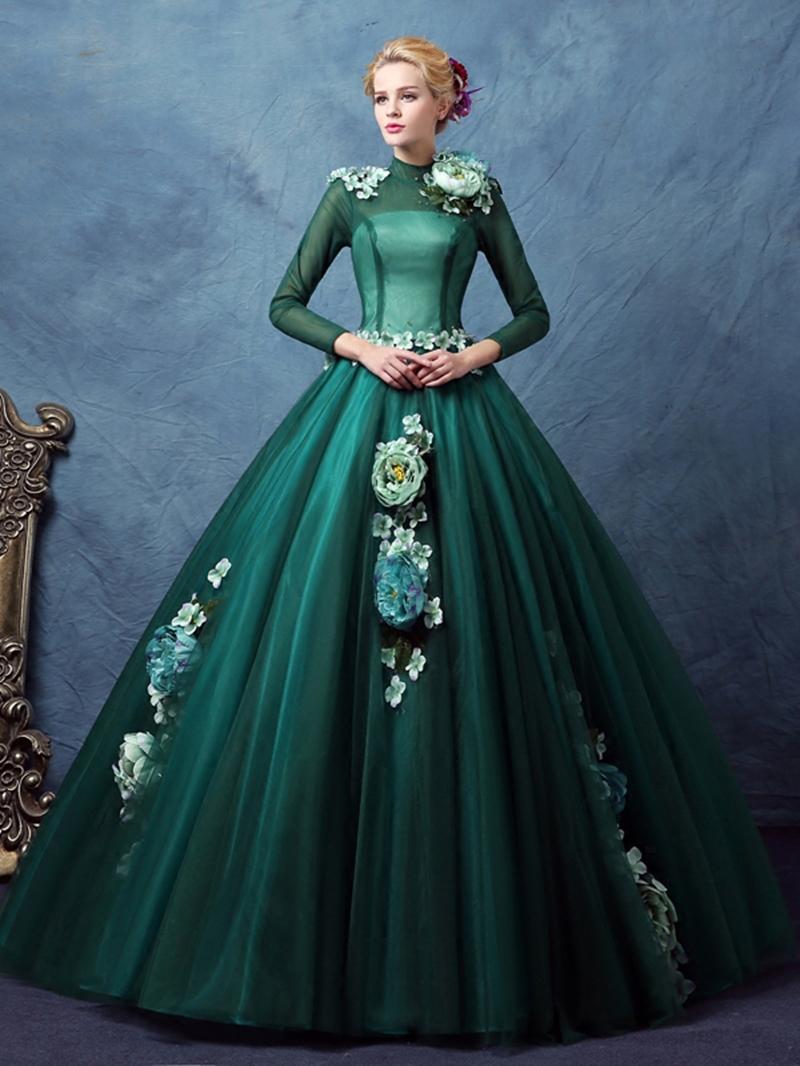Ericdress High Neck Ball Gown Long Sleeves Flowers Quinceanera Dress