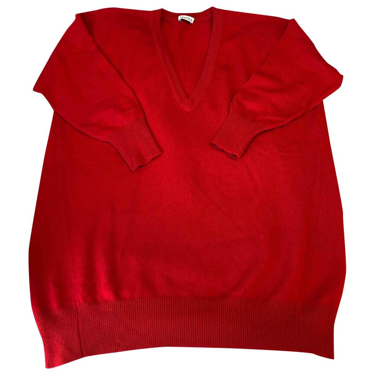 Leetha - Pull   pour femme en cachemire - rouge
