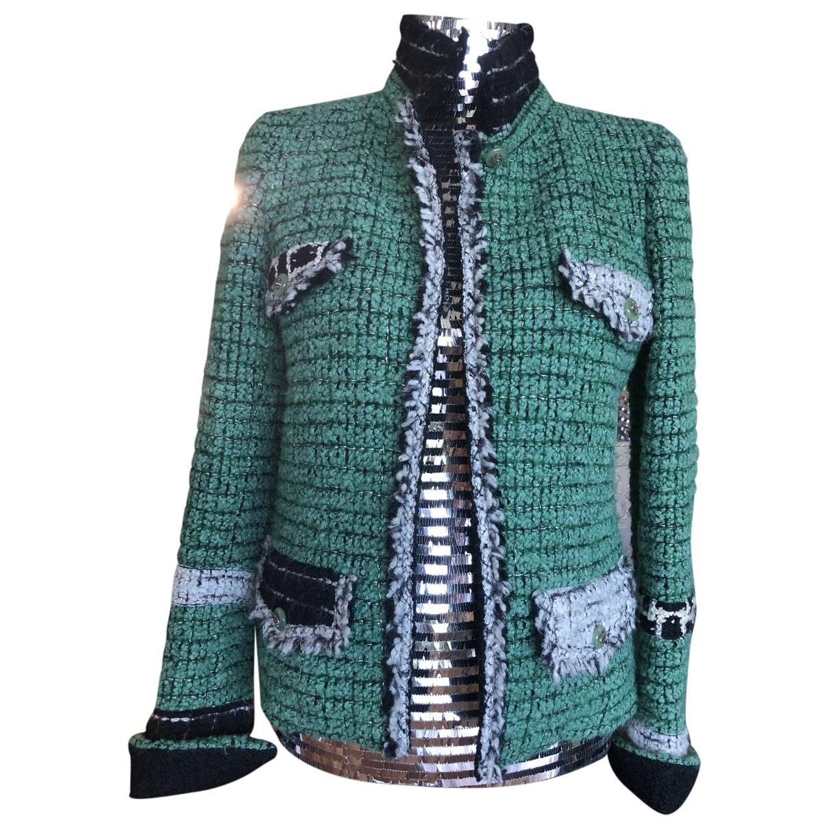 Chanel - Veste   pour femme en tweed - vert