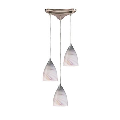 527-3CR 3 Light Pendant in Satin Nickel and Creme
