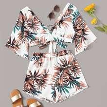 Top mit Pflanzen Muster, Band hinten und Shorts mit Pompons