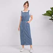 Kleid mit Knopfen vorn, Taschen vorn und elastischer Taille