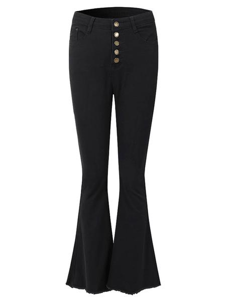 Milanoo White Bell Bottom Jeans Woman High Waisted Flared Leg Denim Pants