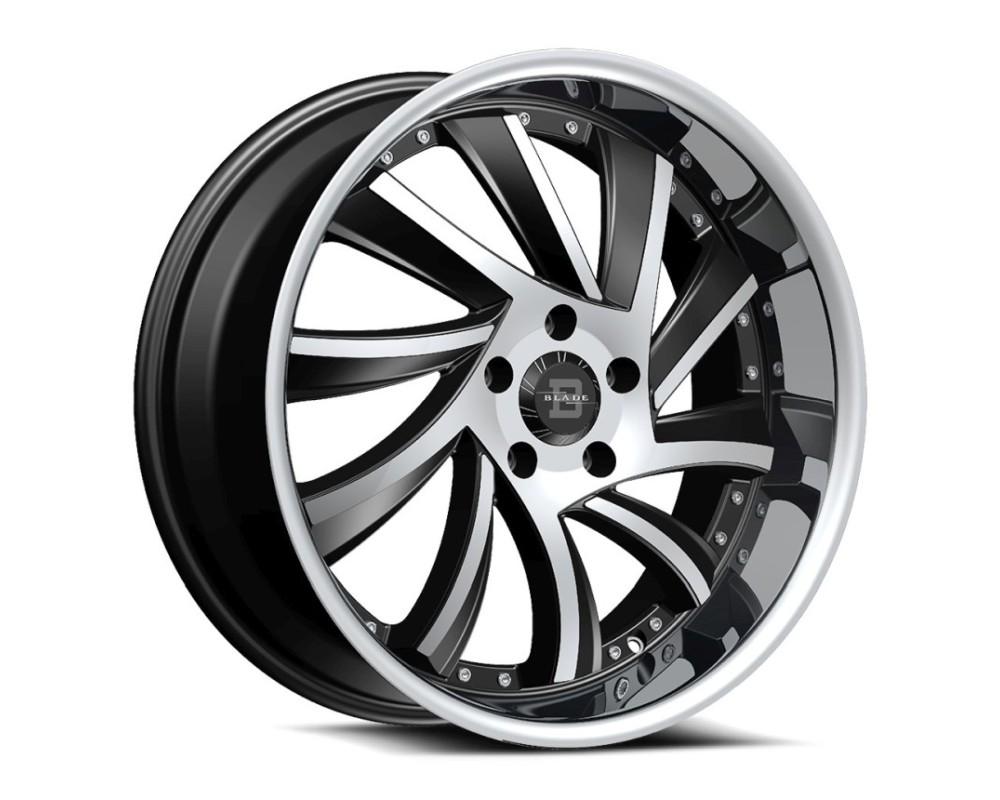 Blade BSL-476 Sliced Wheel 22x9.5 5x115 15mm Black Machined w/ Stainless Lip