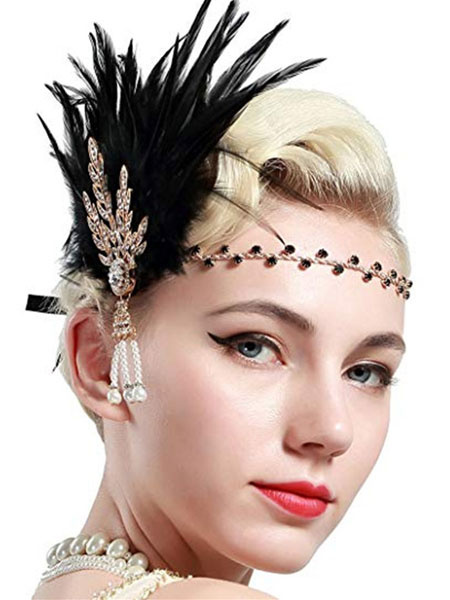 Milanoo 1920s Fashion Flapper Headband Great Gatsby Headpieces Feather Accessories Halloween