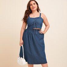 Plus Garment Eyelets Lace Up Denim Top With Denim Skirt