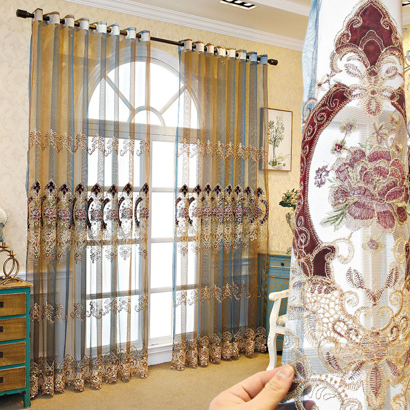 Luxury Floral Embroidered Breathable Custom Living Room Bedroom Sheer Curtains No Pilling No Fading No off-lining