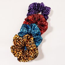 4 Stuecke Scrunchie mit Halloween Spinnennetz Muster