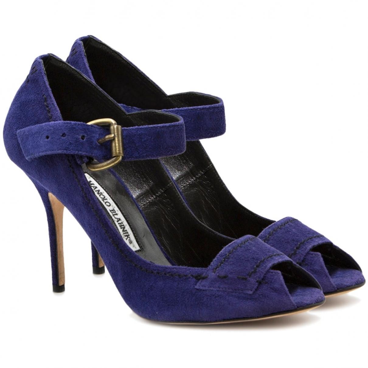 Manolo Blahnik \N Purple Suede Heels for Women 39.5 EU