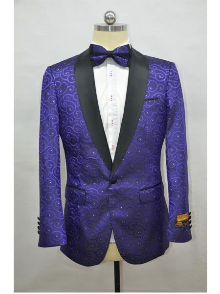 Cheap Mens Printed Flower Jacket Prom modern Tux Dark Purple ~ Black