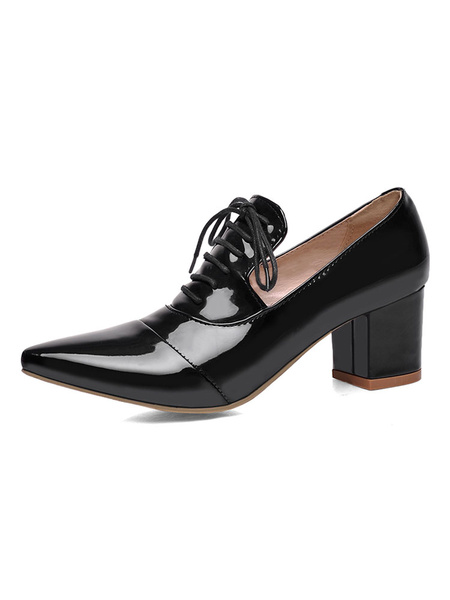 Milanoo Pointed Toe Heels Black Lace Up Detail Chunky Heel Pumps For Women