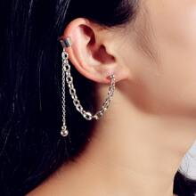 1 Stueck Ohrringe mit Metall Kette Design