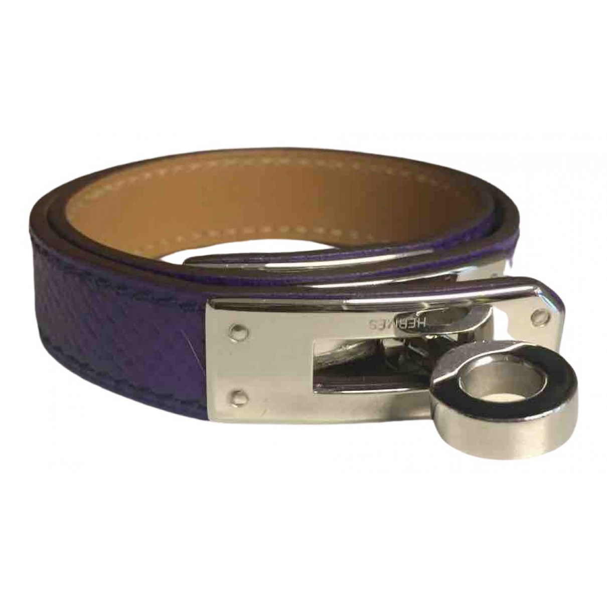 Hermes - Bracelet Kelly Double Tour pour femme en cuir - violet