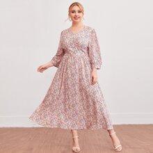 Kleid mit Knopfen vorn, Ruesche und Bluemchen Muster