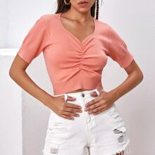 Ruched Front Solid Knit Crop Top