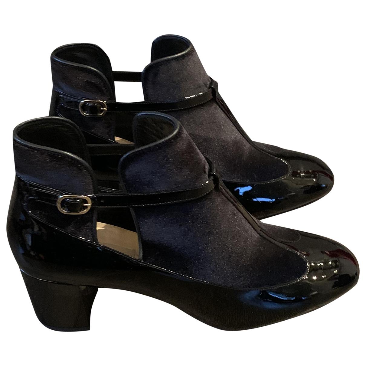 Valentino Garavani - Boots   pour femme en cuir - noir