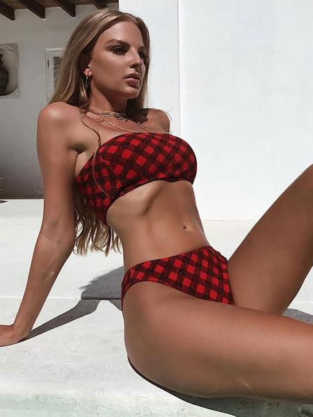 Milanoo Red Bandeau Bikini Swimwear Strapless Quilted Print Beach Bathing Suit