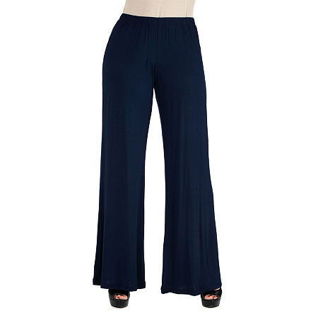 24/7 Comfort Apparel Comfortable Solid Palazzo Pants, 1x , Blue