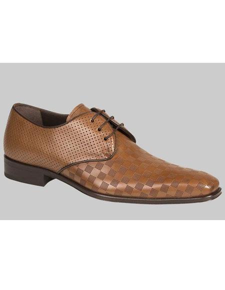 Mens Tan Calfskin Lace Up Checker Pattern Leather Shoes Mezlan Brand