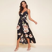 Wrap Belted Floral Print Cami Dress