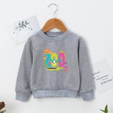 Sweatshirt mit Karikatur Grafik und rundem Kragen