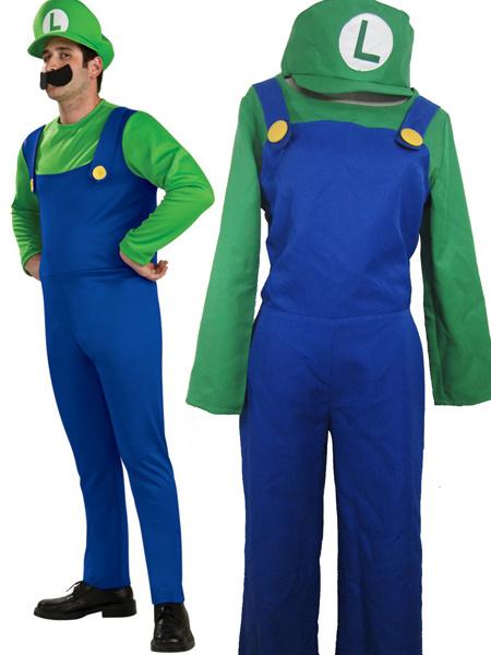 Milanoo Super Mario Bros Luigi Mario Cosplay Costume Halloween Luigi's Mansion 3