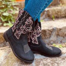 Stiefel mit Blumen Stickereien