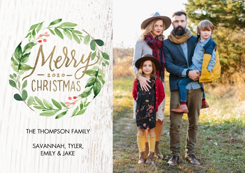 Christmas Photo Cards 5x7 Cards, Premium Cardstock 120lb, Card & Stationery -Christmas 2020 Berries Wreath by Tumbalina