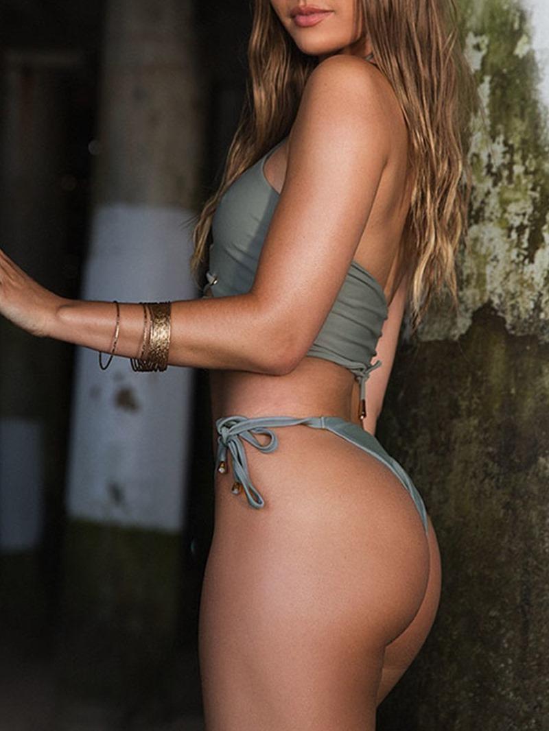 Ericdress Lace-Up Sexy Plaint Swimsuit