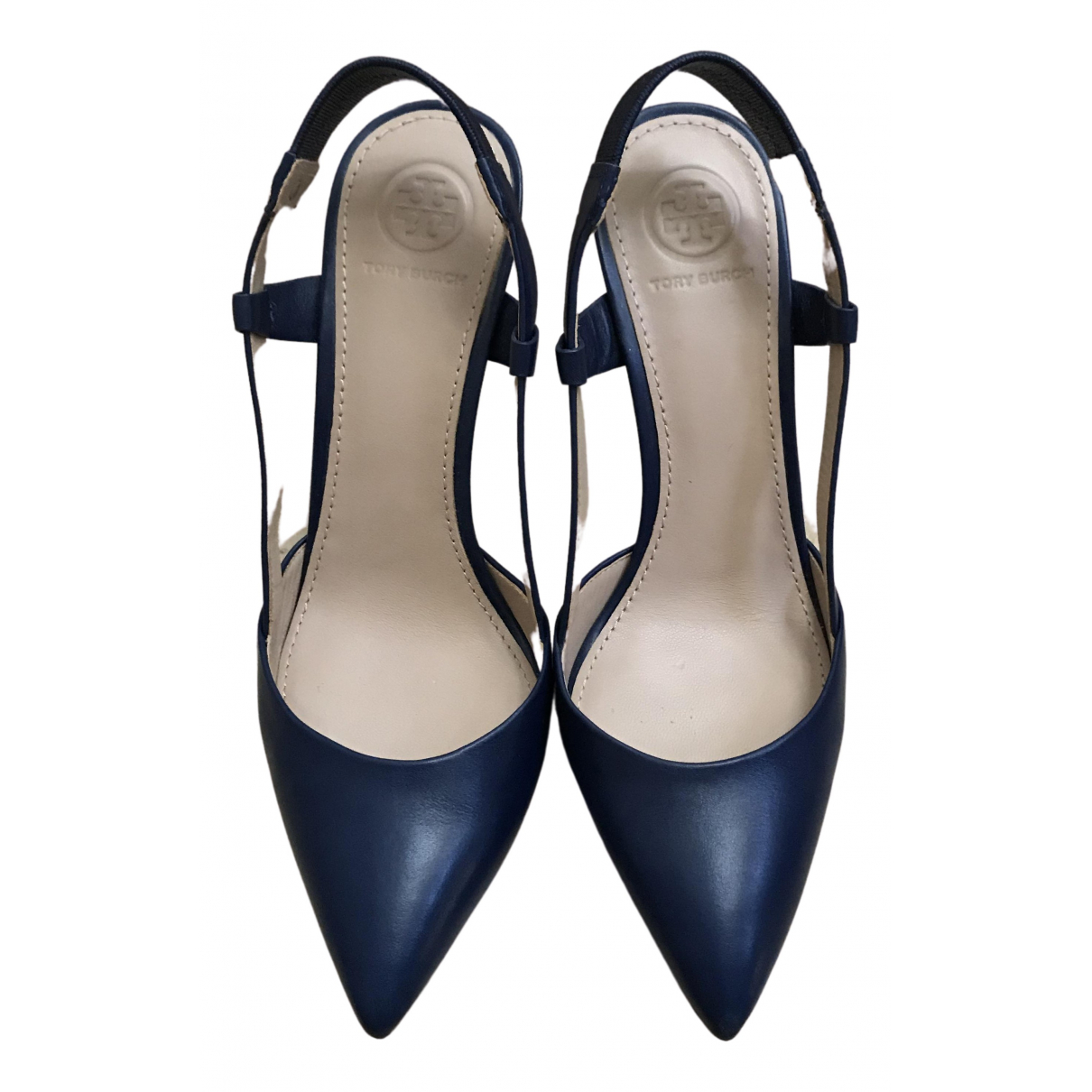 Tory Burch N Navy Leather Heels for Women 6.5 US