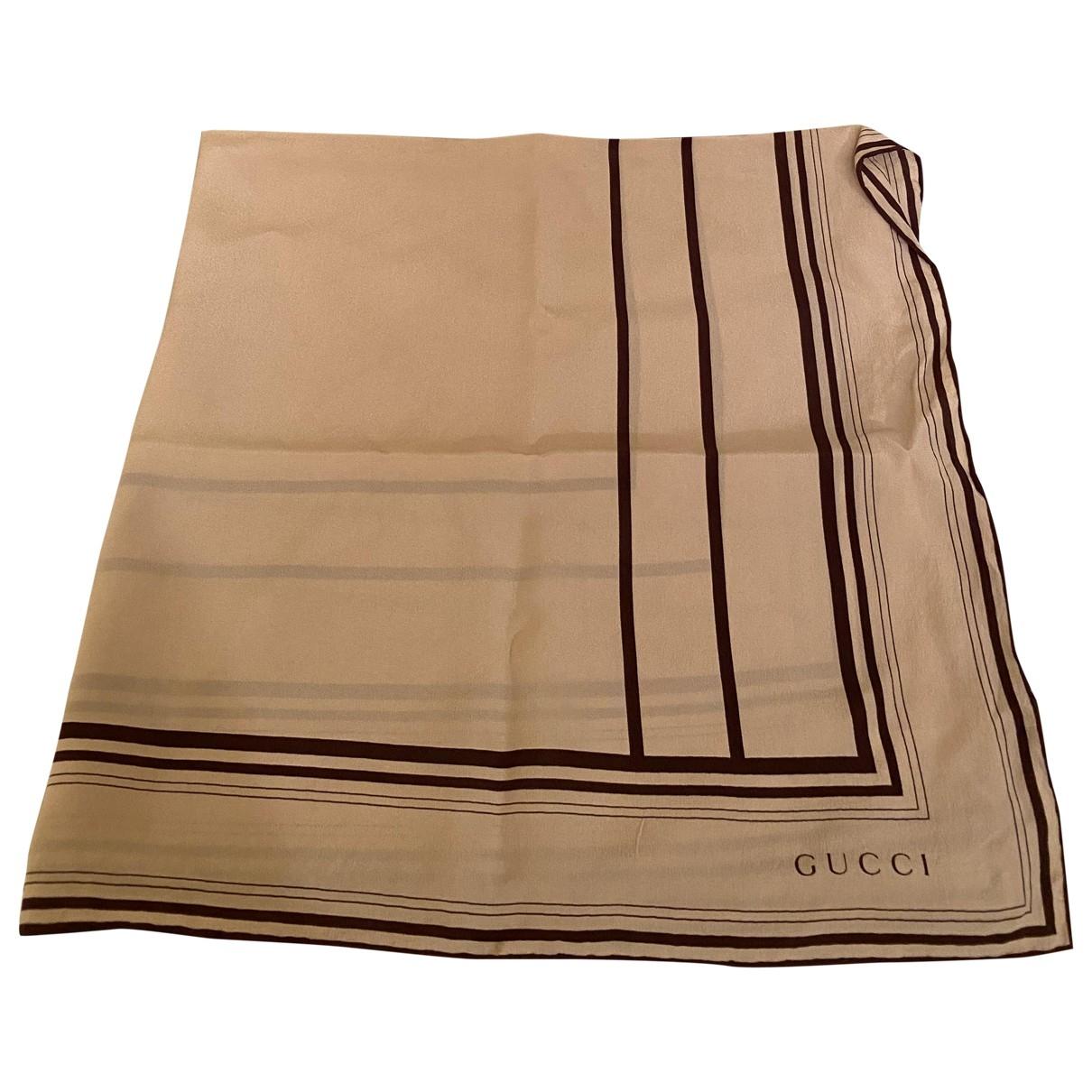 Gucci - Foulard   pour femme en soie - beige