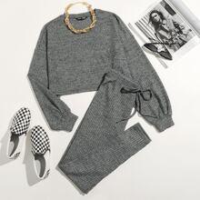 Rib-knit Top & Leggings Set