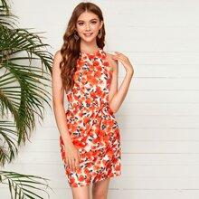 Zip Back Twist Front Floral Dress