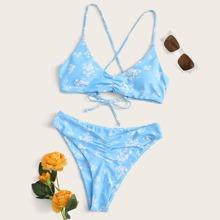 Floral Criss Cross Tie Back Bikini