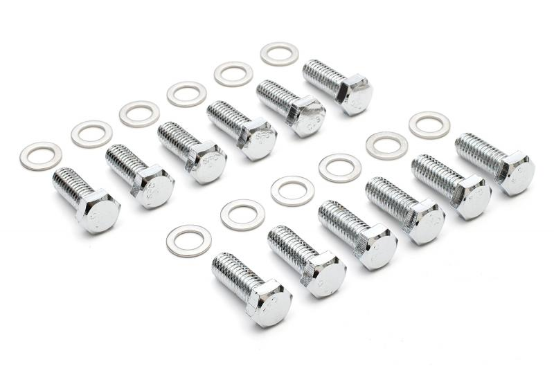 Trans-Dapt Performance 9265 INTAKE MANIFOLD BOLTS; 3/8 in.-16 X 1 in. Hex Head (12 bolts)-CHROME