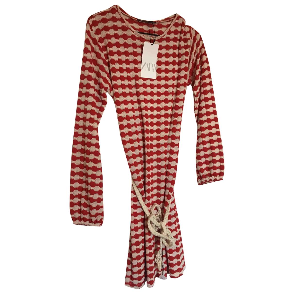 Zara - Robe   pour femme en coton - elasthane - multicolore