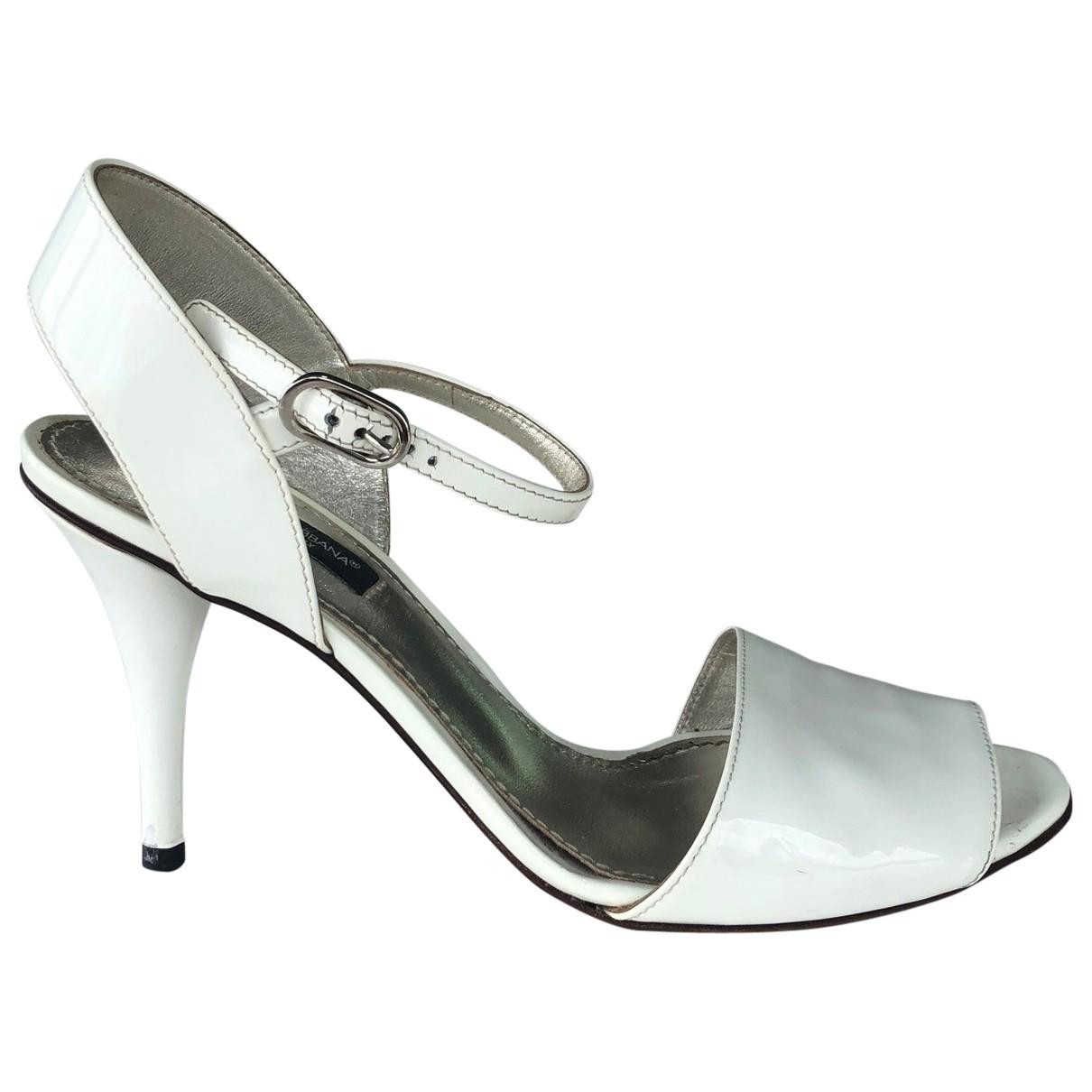 Dolce & Gabbana - Escarpins   pour femme en cuir verni - blanc