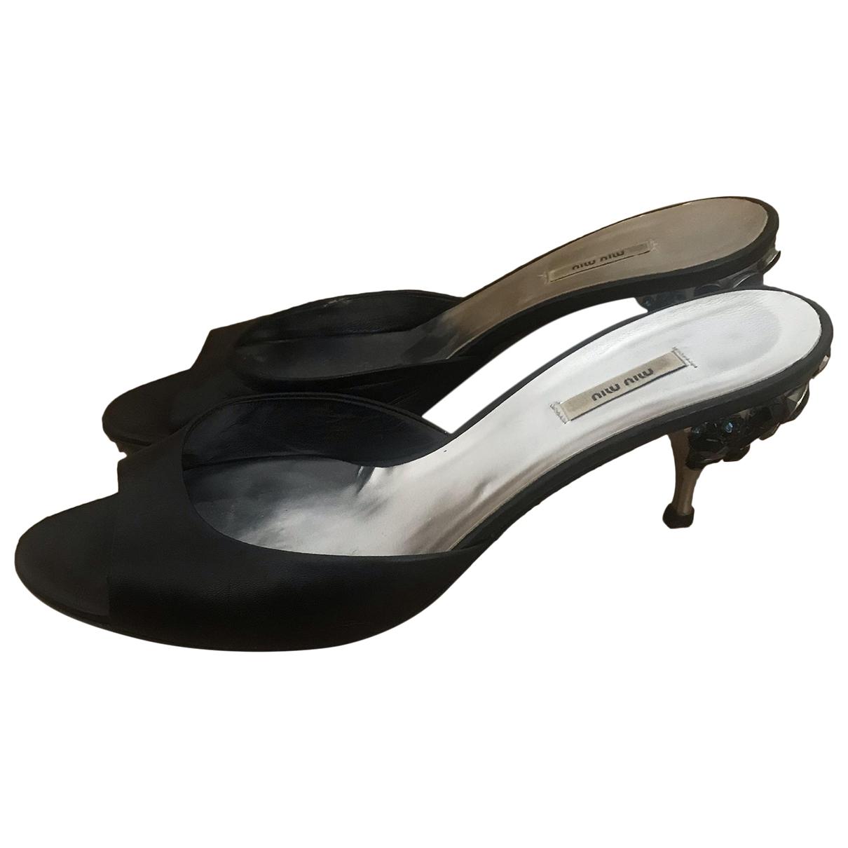 Miu Miu \N Black Patent leather Sandals for Women 36.5 EU