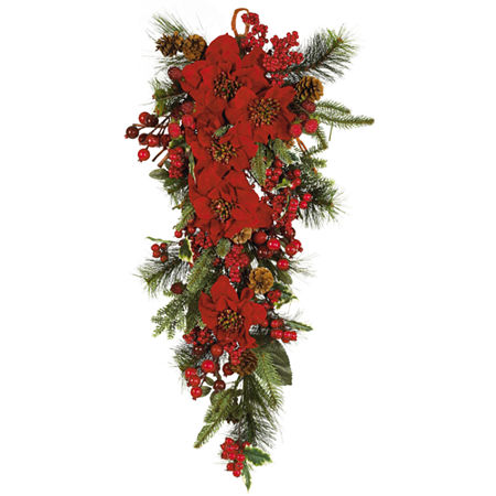 Nearly Natural 22in Indoor Christmas Wreath, One Size , Green
