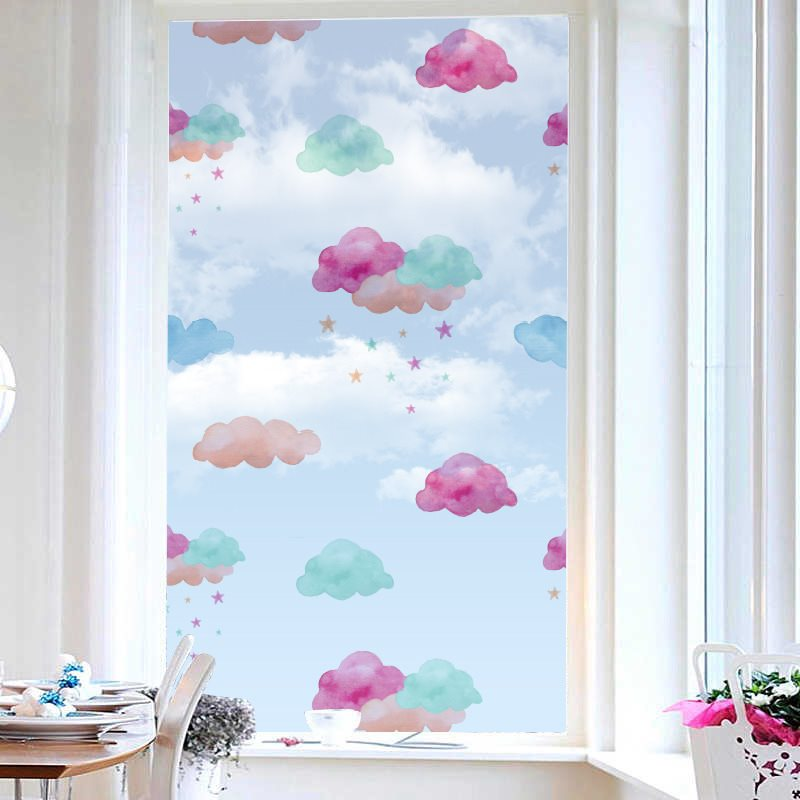 Lovely Style Cartoon Colorful Clouds Painted Window Film No-glue Glass Static Sticker