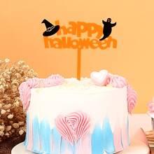1 pieza decoracion de pastel con slogan de Halloween