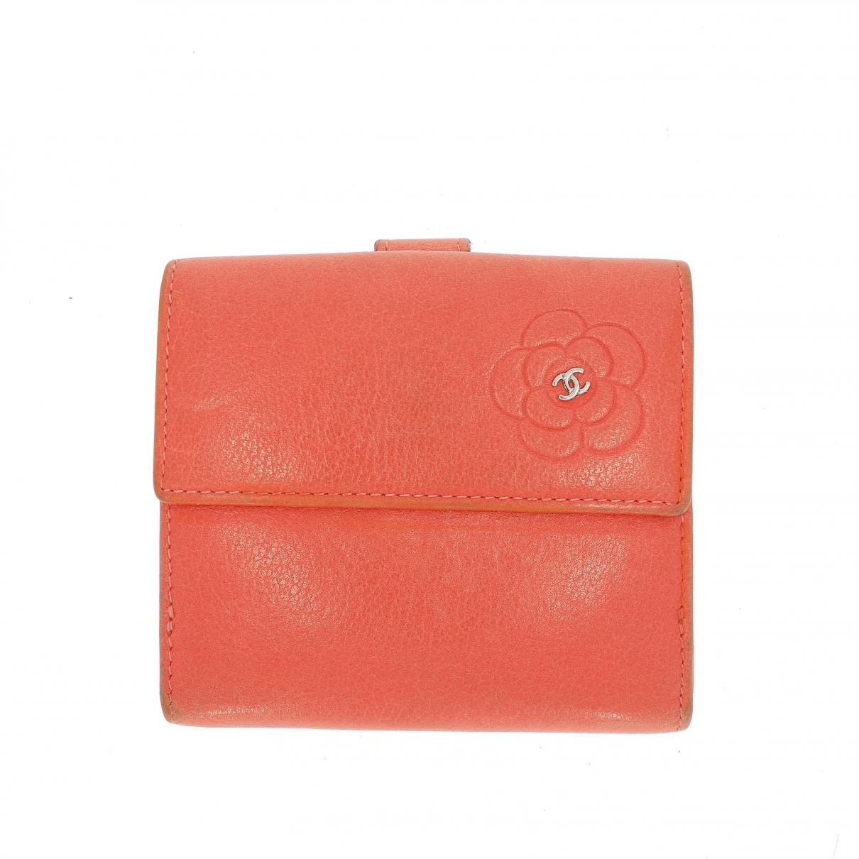 Chanel - Portefeuille   pour femme en cuir - orange