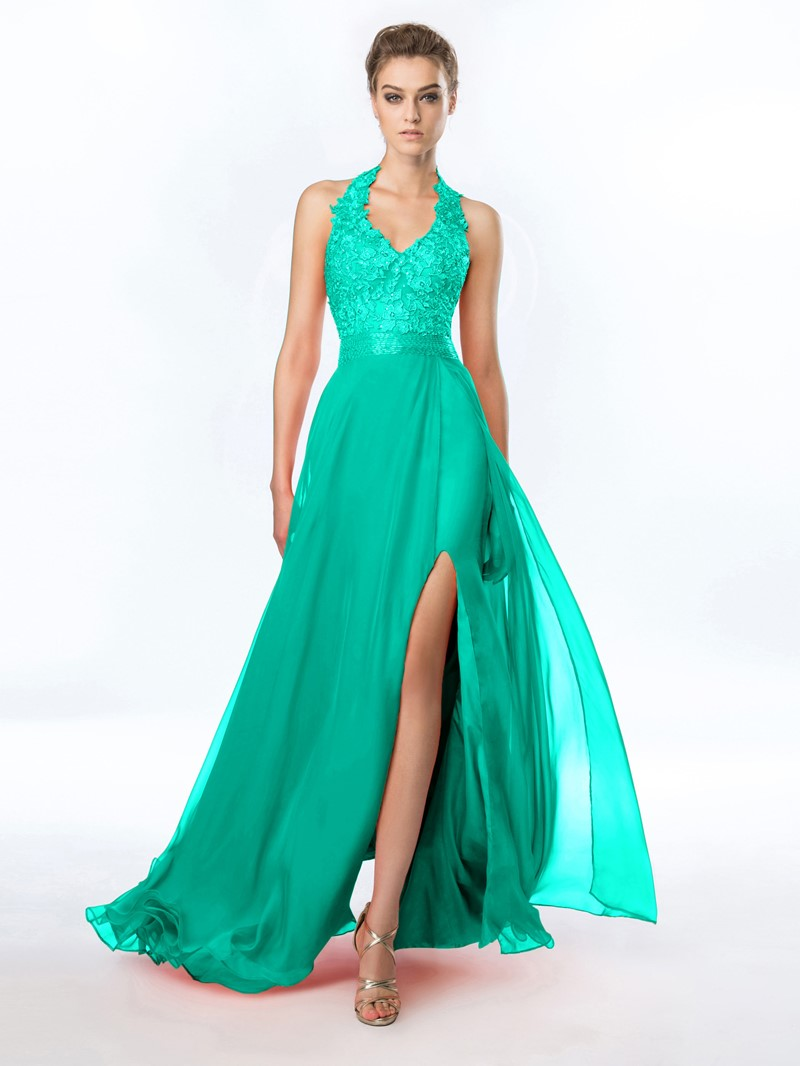 Ericdress Halter Appliques Beading Split-Front Prom Dress
