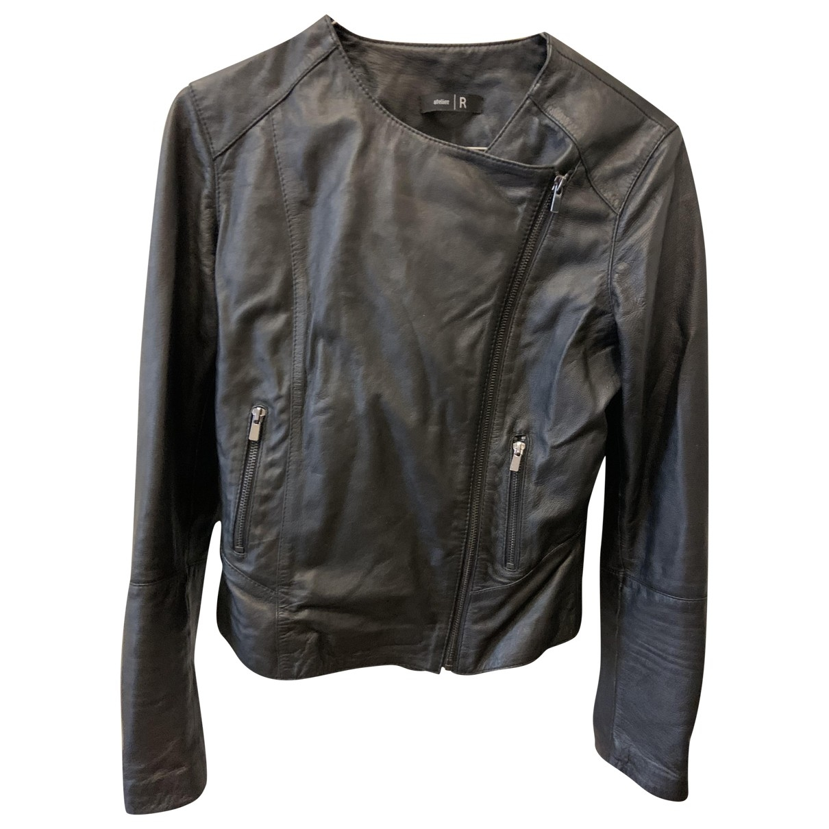 Non Signé / Unsigned \N Black Leather jacket for Women 36 FR