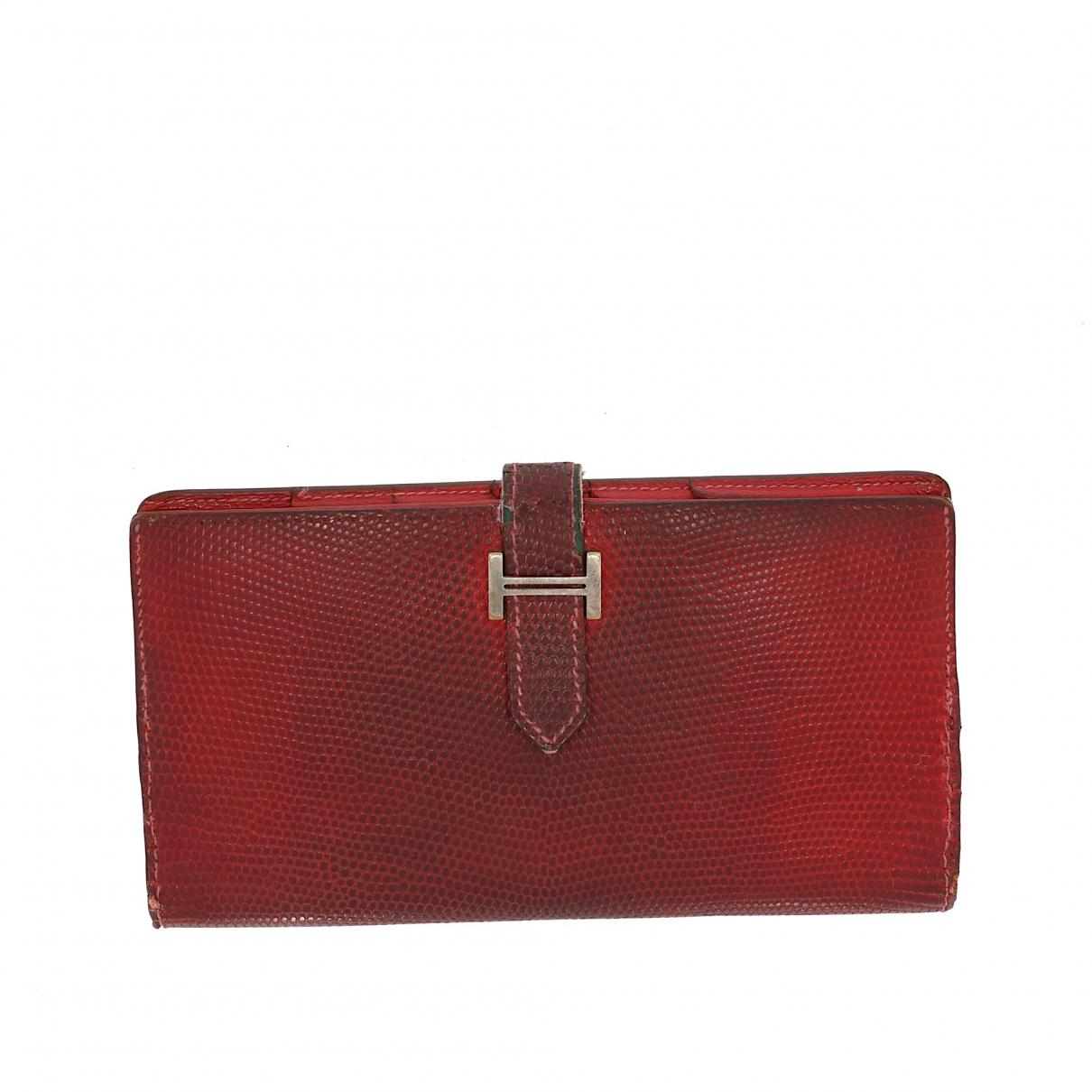 Hermes \N Portemonnaie in  Rot Leder