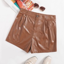 Plus Solid PU Leather Shorts